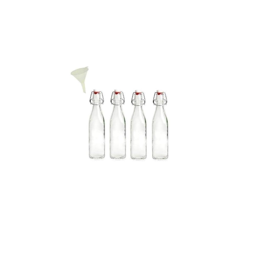 Viva Haushaltswaren 4 Kleine Glasflaschen Mit Bgelverschluss 250 Ml Eckige Form Zum Selbstbefllen Inkl Trichter