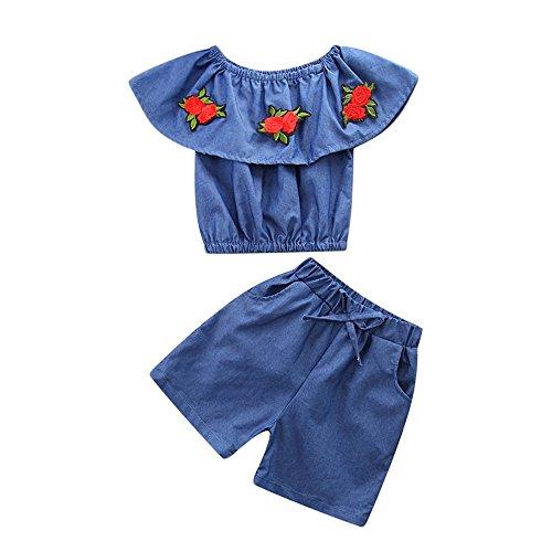 Baby Body Kinderkleidung Jungen Mädchen, YanHoo Kleinkind Kinder Baby Mädchen Outfits Kleidung Denim Schulterfreies Hemd Tops + Shorts Mädchen Denim Schulter 2 Stück (120, Blau-1) (Ideen Outfit Kinder)