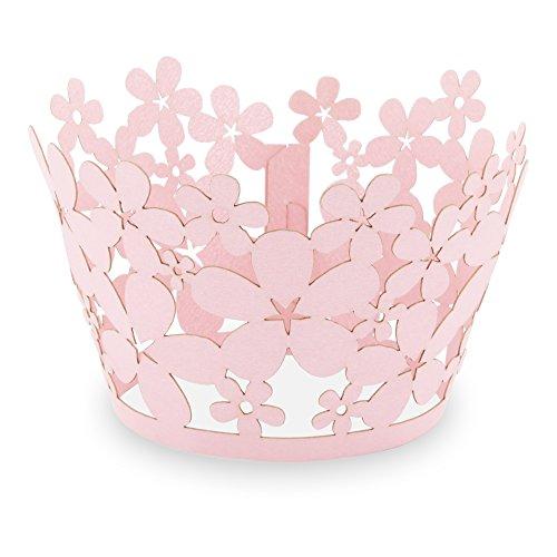 Elfenstall Cupcake / Muffin Papierförmchen - Zierumrandung - Dekorand Blume Flowers 12 Stück für Geburtstage Hochzeiten Kindergeburtstage Taufe Kommunion Konfirmation Ostern Weihnachten Partys oder Feste (rosa pink)