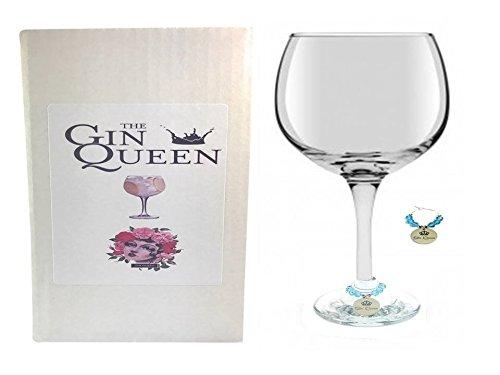 Große Ballon förmige Gin und Tonic Glas mit Gin Queen Stiel Glas Charme wird in einer Geschenkbox von Libby 's Market Place-von UK Verkäufer