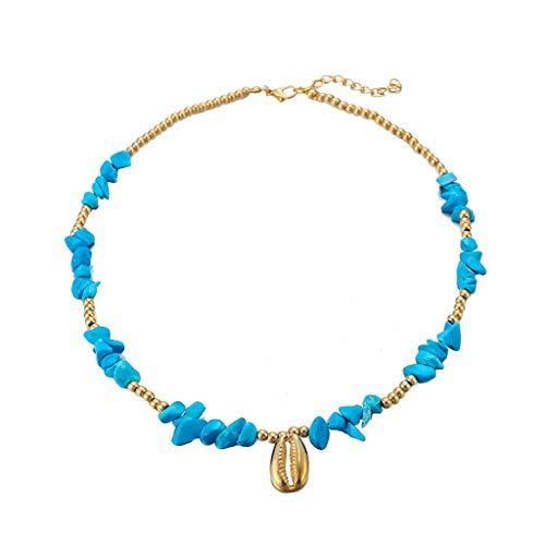 Boho Muschel Kauri Strand Damen Kette,Choker Frauen Halskette Kette Necklaces Halsketten Anhänger Geschenk Schmuck Jewelry Gliederkette,Überraschungsgeschenk Geschenk (Mehrfarbig)