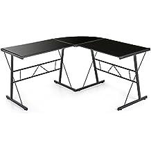 IKAYAA Moderno a Forma di Angolo Computer Desk PC Laptop Table Ufficio Workstation Vetro Temperato Top 100KG Capacità di Carico Scrivanie Mobili