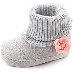 Zapatos De Bebé Botas de Cuna de Flores de bebé recién Nacido Patucos niñas Niños Primeros Pasos Zapatos Calientes Prewalker de Suela Blanda Zapatillas (Gris, Tamaño:3-6Mes)