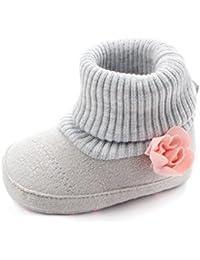 Zapatos De Bebé Botas de cuna de flores de bebé recién nacido Patucos niñas Niños Primeros pasos Zapatos calientes Prewalker de suela blanda zapatillas antideslizantes Amlaiworld (Gris, Tamaño:3-6Mes)