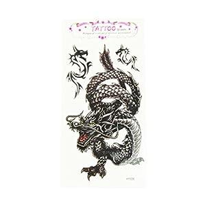 Tattoos Sannysis tatuajes temporales, impermeable dragón Negro, 17.8*10cm de Sannysis