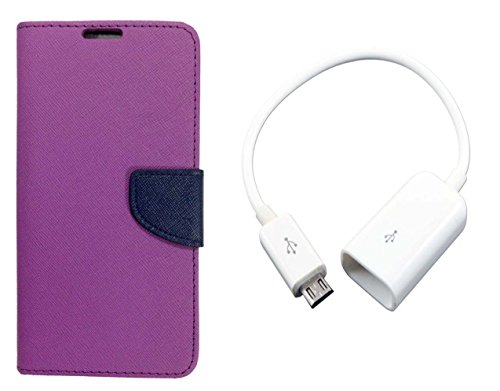 AUX MART Fancy Diary Flip Cover Case For Moto G Plus 4th Gen Purple + Micro USB OTG Cable Attach Pendrive Card Reader Mouse Keyboard to Tablets Mobile  available at amazon for Rs.229