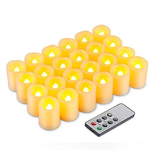 Kohree LED Votivkerzen Flammenlose Kerzen mit Timer und Fernbedienung, Kerze Batteriebetrieben, 24 LEDs