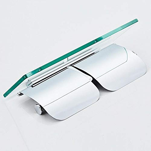 Toilettenpapier Halterung Glasablage Vollkupferrollenhalter Einfach Doppelt Toilettenpapierhalter Doppelt