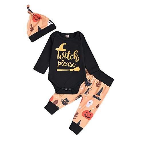 Battnot Halloween Kostüm für Mädchen Säuglingsbaby Jungen Kleinkind Kinder Cosplay Buchstabe Drucken Spielanzug+Cartoon Hosen+Hat 3-teiliges Set Outfits, Halloween Kleidung 3 6 12 18 24 - Vogelscheuche Kostüm Kleinkind
