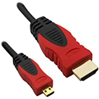iKross 2m (metri) Micro HDMI (tipo D) a HDMI (tipo A) | Cavo placcato in oro (High Speed) HQ Micro HDMI 1.4 a con supporto TRUE 3D e Ethernet | Full HD / HD Ready / 3D | 1080p / 2160p / 4K (Ultra HD)