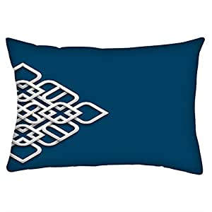 """Snoogg 3D White Ornament In Arabic Style Rectangle Toss Throw Pillow Cushion Cover Decoarative Pillow Case 12 x 18"""""""