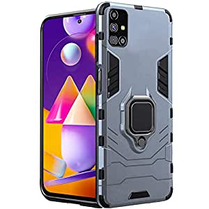 TheGiftKart Tough Armor Bumper Polycarbonate Back Case Cover with in-Built Ring Holder & Kickstand for Samsung Galaxy M31s (Carbon Black)