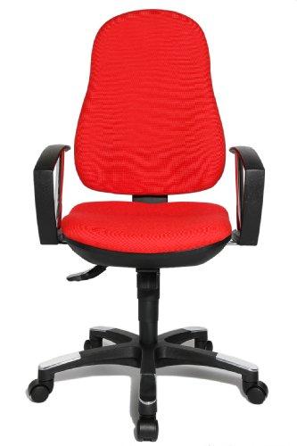 Topstar 9020AG21, Trend SY 10, Bürostuhl, Schreibtischstuhl, ergonomisch, mit Armlehnen, Bezugsstoff rot