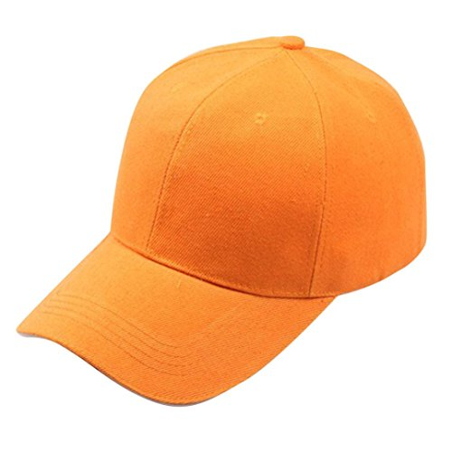 LeeY Baumwolle Baseball Cap, Basecap Unisex Einfarbig Baseball Kappen, Baseball Mützen für Draussen, Sport Oder auf Reisen - Baseboard Baseballkappe Kappe, Mütze Snapback Hut (Orange) (Hut Wolle Orange Klassischer)