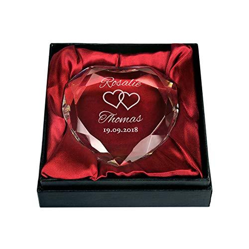 Gravado - Kristall aus Glas - Herzform - Mit Gravur zur Hochzeit - Motiv: Herzen - Personalisiert mit Namen und Datum - Briefbeschwerer - Geschenkbox - Geschenkidee für Paare - Hochzeitsgeschenke (Briefbeschwerer Diamant)
