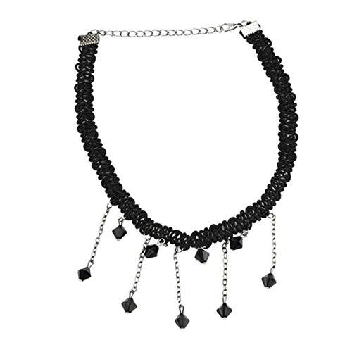 Gothic Girl Velvet Lace Harajuku Halsketten Drehmomente Halsketten Punk Hollow Lace Collar Collier Femme-Black