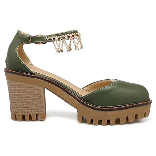 COOLCEPT Damen Sweet Knochelriemchen Sandalen Blockabsatz Plateau Geschlossene Schuhe Gr Grun