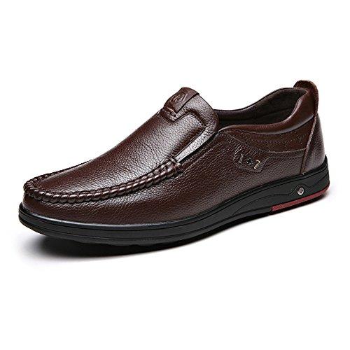 Ruiyue Männer Müßiggänger-Schuhe, Echtes Rindsleder-oberes treibendes Auto-Weiche Ebenen Beleg-auf Müßiggängern für Männer (Color : Dunkelbraun, Größe : 39 EU)