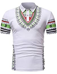 Chemise Africaine Homme Hommes Slim Fit Manches Courtes Africain Imprimé  Muscle Tee T-Shirt Casual 04db51ef230