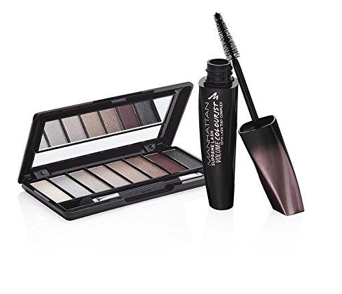 MANHATTAN Geschenkset Supreme Lash Volume Colourist Mascara, black & Eyemazing Nudes Eyeshadow Palette, Farbe 200, Shades, 1er Pack (1 x 20 g)