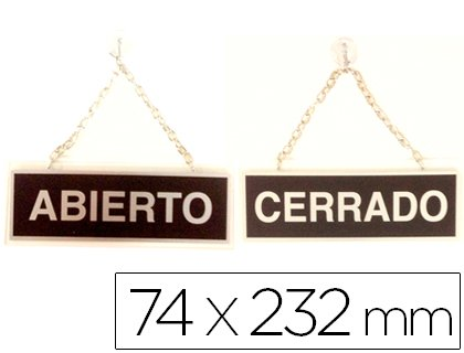 Liderpapel - Letrero metalico serigrafiado abierto y cerrado con cadena y ventosa para colgar de 74x232 mm.