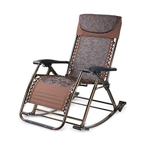 Wohnzimmer Klappstuhl, Lounge Stuhl Multifunktions kreative Balkon Old Man Lounge Stuhl Schaukelstuhl Büro Mittagspause Stuhl (Farbe : SCHWARZ) | Garten > Balkon > Balkonstühle | Schwarz | Metall | LRQZ-L
