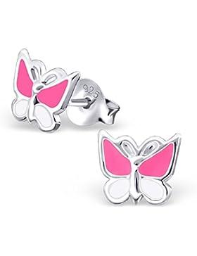 Laimons Kids Kinder-Ohrstecker Kinderschmuck Schmetterling Pink, Weiß Sterling Silber 925