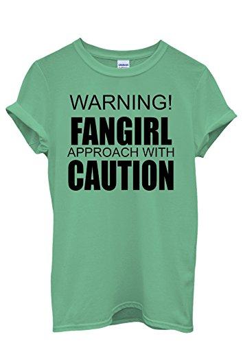 Warning FanGirl Approach with Caution Men Women Damen Herren Unisex Top T Shirt Grün