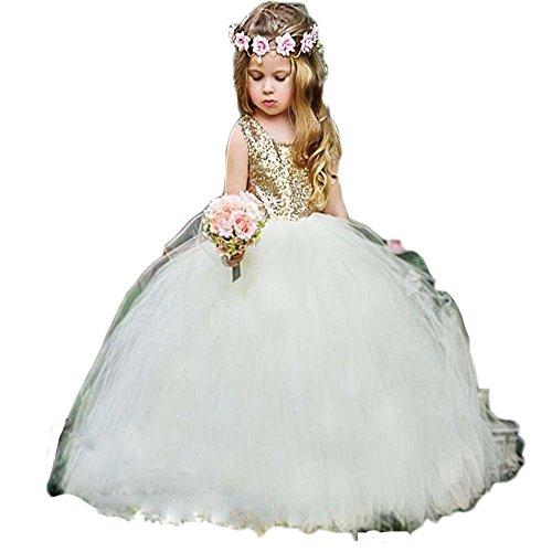 mxgirls Little Kids Pageant Blumenmädchenkleider Pailletten Open Back Lange Ballkleid Tüll Formelle Party Kleid (Open Back Lange Kleid)