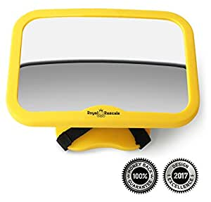 Royal Rascals - Baby Car Mirror for Backseat - Safest Yellow Frame - Shatterproof - Rear View Baby Car Seat Mirror to See Rear Facing Infants and Babies