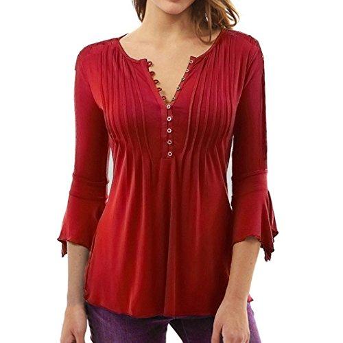 Bellelove Frauen Herbst Flare 3/4 Ärmel Schlank V-Ausschnitt Tasten Gestrickte Bluse Tops Shirt (rot, S) (Herz Jeans Flare)