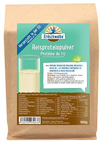 Erdschwalbe EU Reisprotein - Hergestellt in der EU - Veganes Eiweißpulver - 1 Kg