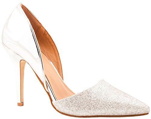 Elara Damen Pumps   Spitze Stiletto High Heels   Moderne Pumps Silber Paris 4ae8e02339