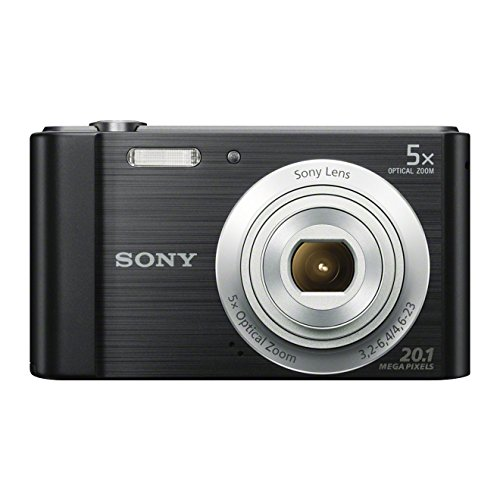 Sony DSCW800 Digital Compact Camera (20.1 MP, 5x Optical Zoom) – Black