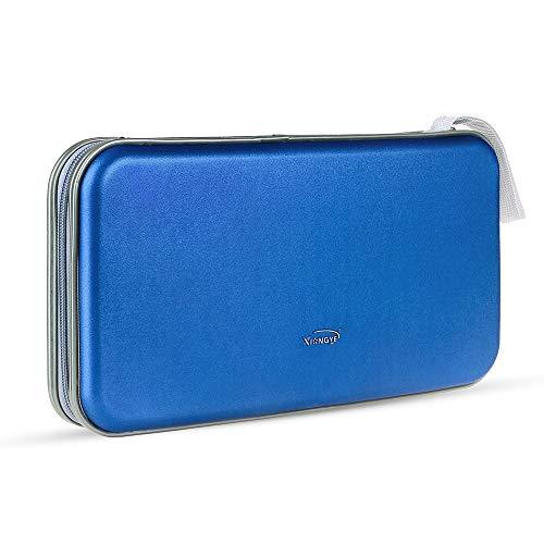Leder Dvd-rack (CD-Hülle, tragbarer Kunststoff 80pcs Disc CD-DVD-Geldbörsen Aufbewahrungsbox Halter Tasche Hard Box Silber (Color : Blau, Size : M))