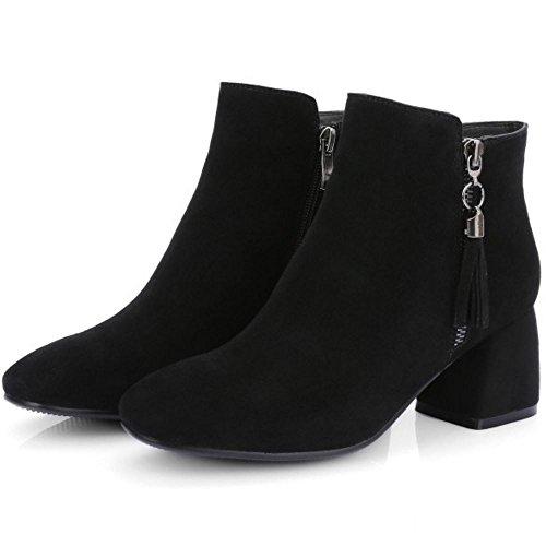 COOLCEPT Damen Stiefeletten Reißverschluss Blockabsatz Spitze Toe Knöchelriemchen Gemütlich Schwarz