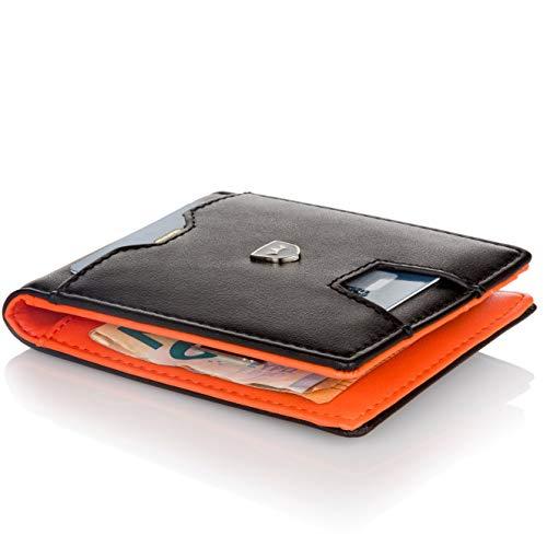Kronenschein Premium Herren Geldbörse mit Geldklammer Portemonnaie Männer Geldbeutel Slim Wallet Portmonee RFID Brieftasche Kreditkartenetui Kartenetui
