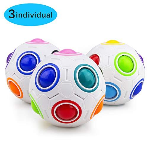 Welltop Magic Ball, Magisch Regenbogen Puzzle Zauber Ball Fidget Spielzeug für Konzentration, Langlebig für Gehirntraining Spiel Geburtstagsgeschenk für Kinder (3 Stück)