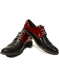Modello Oristano - 40 EU - Cuero Italiano Hecho A Mano Hombre Piel Gris Zapatos Vestir Oxfords - Cuero Cuero Suave - Encaje