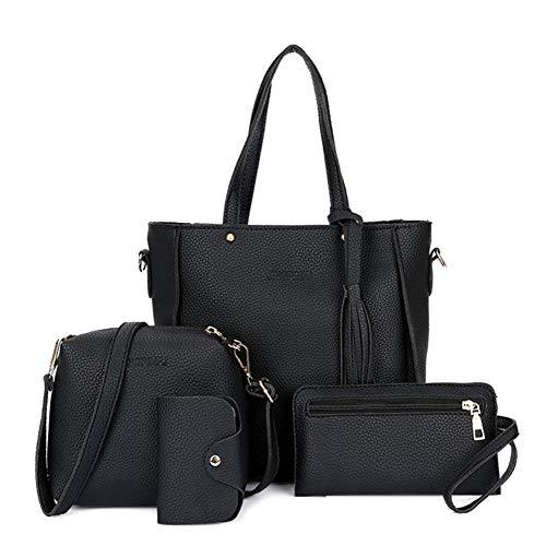 Bomoya Women Solid Color Handbag + Crossbody Shoulder Bag + Hand Purse + Card Holder for Daily Use+Abendtasche City Clutch Party
