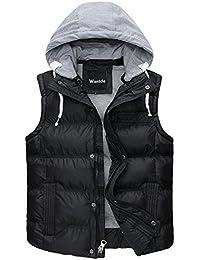 Wantdo Chaqueta de invierno extraíble con capucha Chaleco de plumón