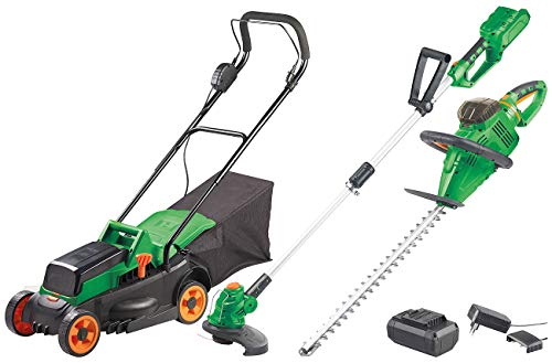 AGT Professional Akku Rasenmäher: Akku-Gartenwerkzeug-Komplett-Set Serie AW-40, 40 Volt (Rasentrimmer) -