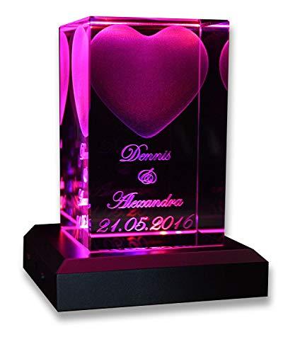 VIP-LASER 3D Glas Kristall Quader XL Herz mit Zwei Wunschnamen + Datum im Hochformat, Beleuchtung:mit Color Leuchtsockel 5 LED Silber