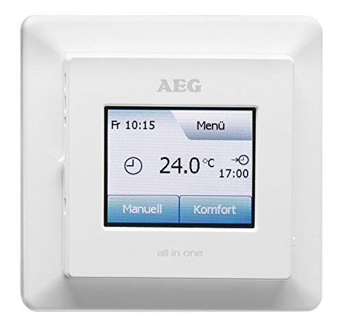 AEG Fußboden- und Raumtemperaturregler, Touchscreen mit Farbdisplay, Komfort-Eco-Modus, Wochenprogramme, FRTD 903 TC, Weiß, 233919