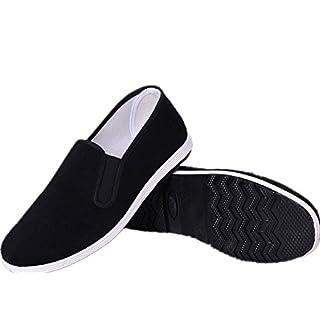 APIKA Chinesische Traditionelle Peking-Stil Schuhe Kung Fu Tai Chi Schuhe Gummisohle Unisex Schwarz (270mm EU44)
