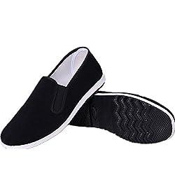 APIKA Chinesische traditionelle Peking-Stil Schuhe Kung Fu Tai Chi Schuhe Gummisohle Unisex Schwarz (240mm EU38)