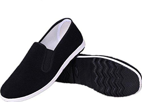 APIKA Chinesische traditionelle Peking-Stil Schuhe Kung Fu Tai Chi Schuhe Gummisohle Unisex Schwarz (235mm 37 EU) Stil-slip-ons