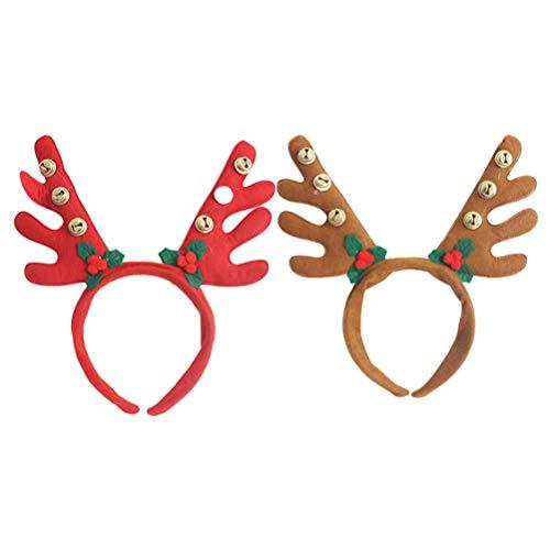 Geweih Elch Kostüm - Toyvian 2 x Weihnachten Haarreif Rentier Stirnband Kinder Mädchen Hirsch Geweih Haarschmuck Elch Haarband mit Glocken Kostüme Zubehör (Rot und Braun)