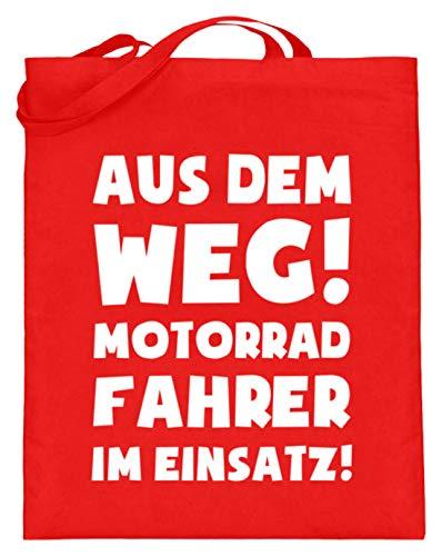 shirt-o-magic Motorrad: Motorradfahrer im Einsatz! - Jutebeutel (mit langen Henkeln) -38cm-42cm-Rubinrot -