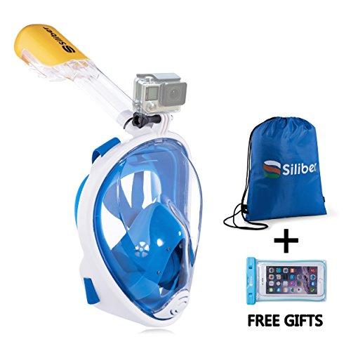 Siliber Nuova maschera da snorkeling 180° integrale Easybreath con design anti-appannamento & contro l'entrata d'acqua per adulti e bambini. Cover per smartphone resistente all'acqua & zaino sportivo in regalo